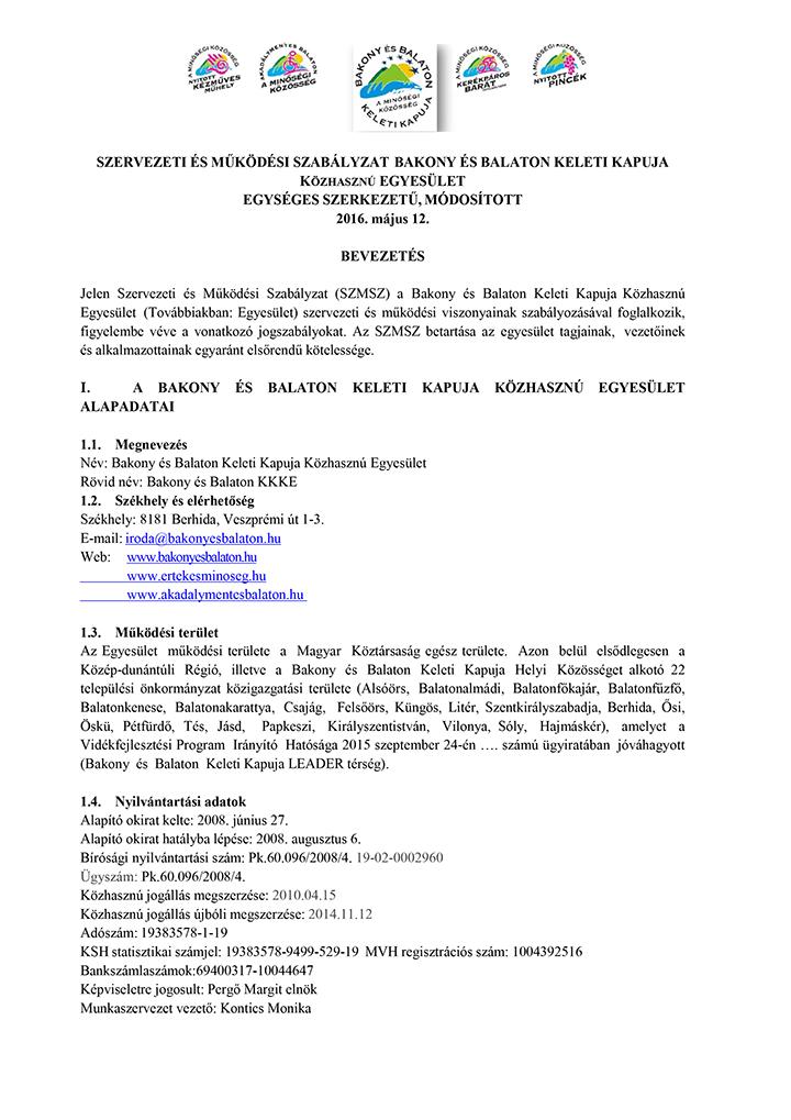 Szervezeti és működési szabályzat - hatályos