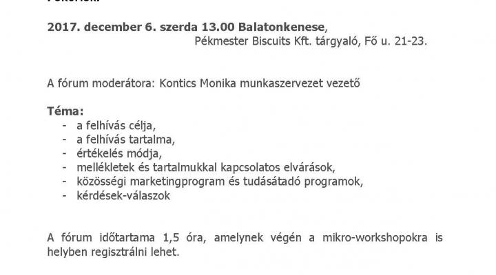Meghívó szakmai fórum Balatonkenesén